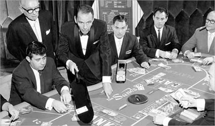 Dealing baccarat at the Sands, '59